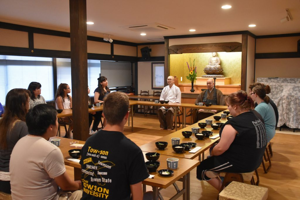 study abroad group in a tea ceremony
